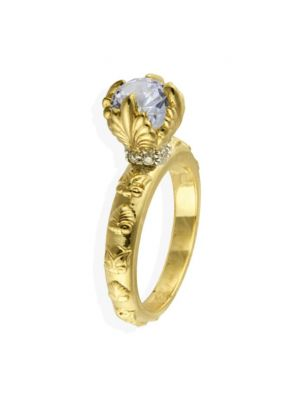 Anna Avakian gold engagement ring with diamond