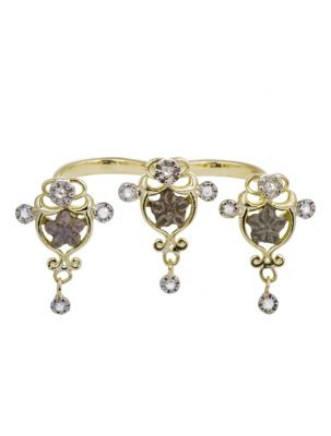 Anna Avakian double ring with star stones and diamonds