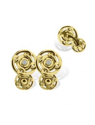 Anna Avakian yellow round-shape gold cufflinks with diamonds