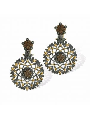 Anna Avakian black silver earrings with gold and star stones