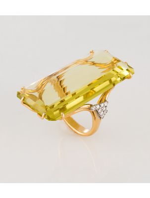 Casato Roma gold ring with citrine and diamonds