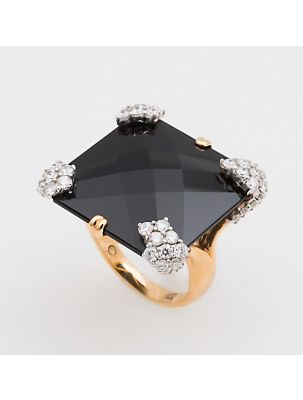 Casato Roma pink gold ring with diamonds and black onyx