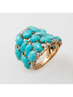 Casato Roma yellow gold ring with turquoise and diamonds