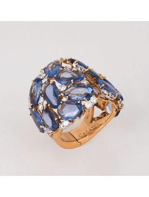 Casato Roma pink gold ring with blue sapphire and diamonds