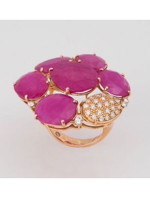 Casato Roma pink gold ring with rubies and diamonds