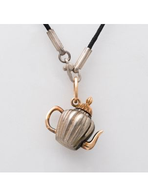 Pomellato pink gold and silver pendant and leather necklace