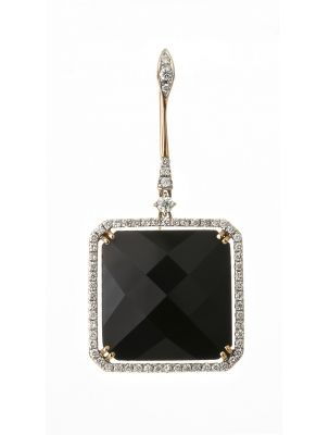 Casato Roma white and pink gold earrings with black onyx and diamonds