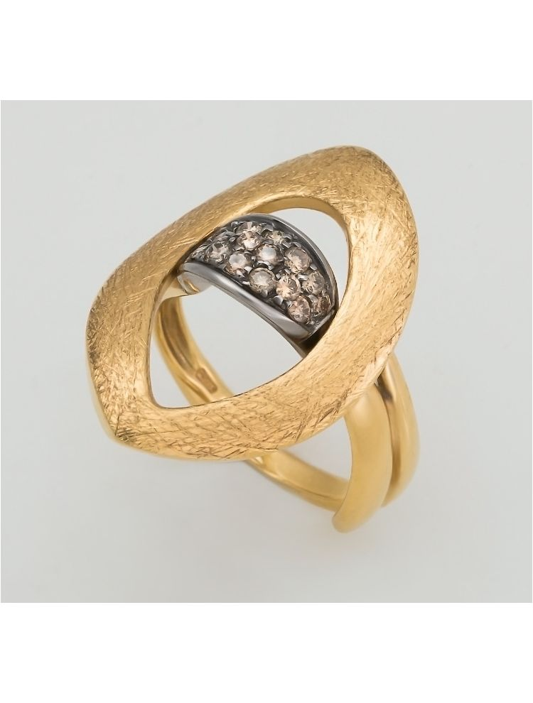 Talento Italiano yellow gold ring with brown diamonds