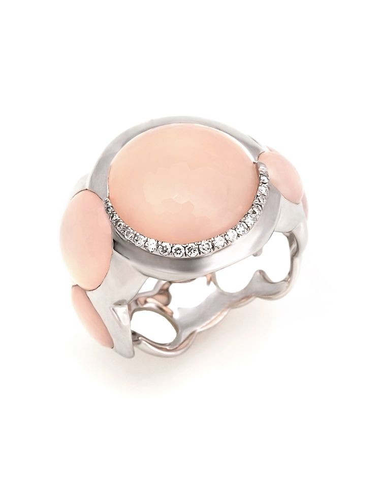 Talento Italiano white gold ring with white diamonds and pink quartz