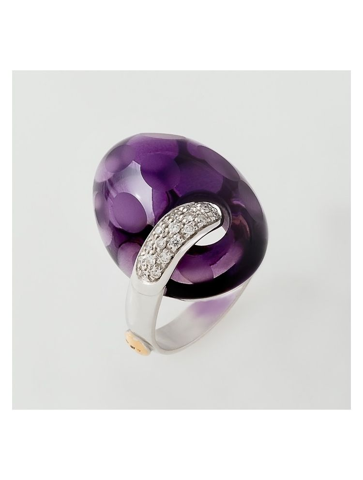Talento Italiano white gold ring with amethyst and diamonds