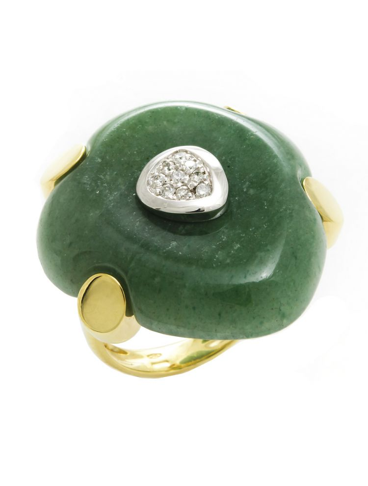 Talento Italiano white and yellow gold ring with white diamonds and green jade