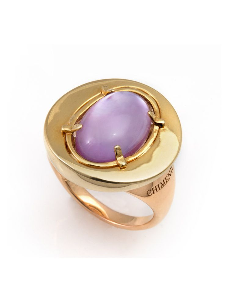 Chimento yellow and pink gold ring with mother of pearl and amethyst