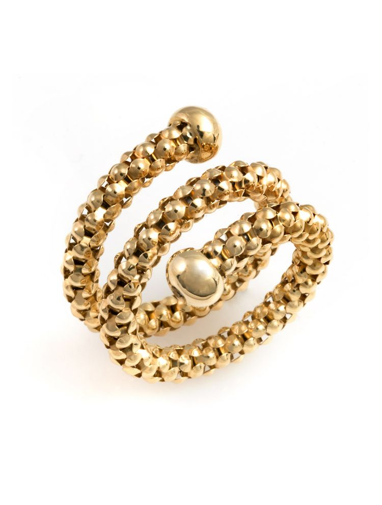 Chimento yellow gold spiral ring with diamonds