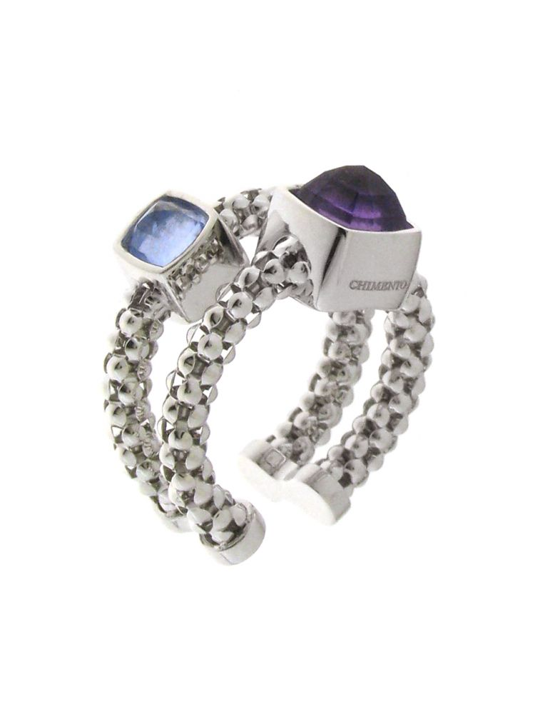 Chimento 18K Ring in white gold with topaz and amethyst