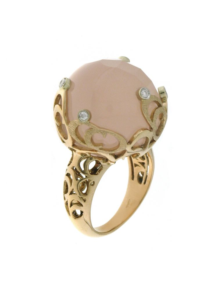 Chimento 18K Ring in white and pink gold with diamonds and quartz