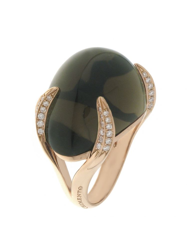 Chimento 18K Ring in pink gold with diamonds and quartz