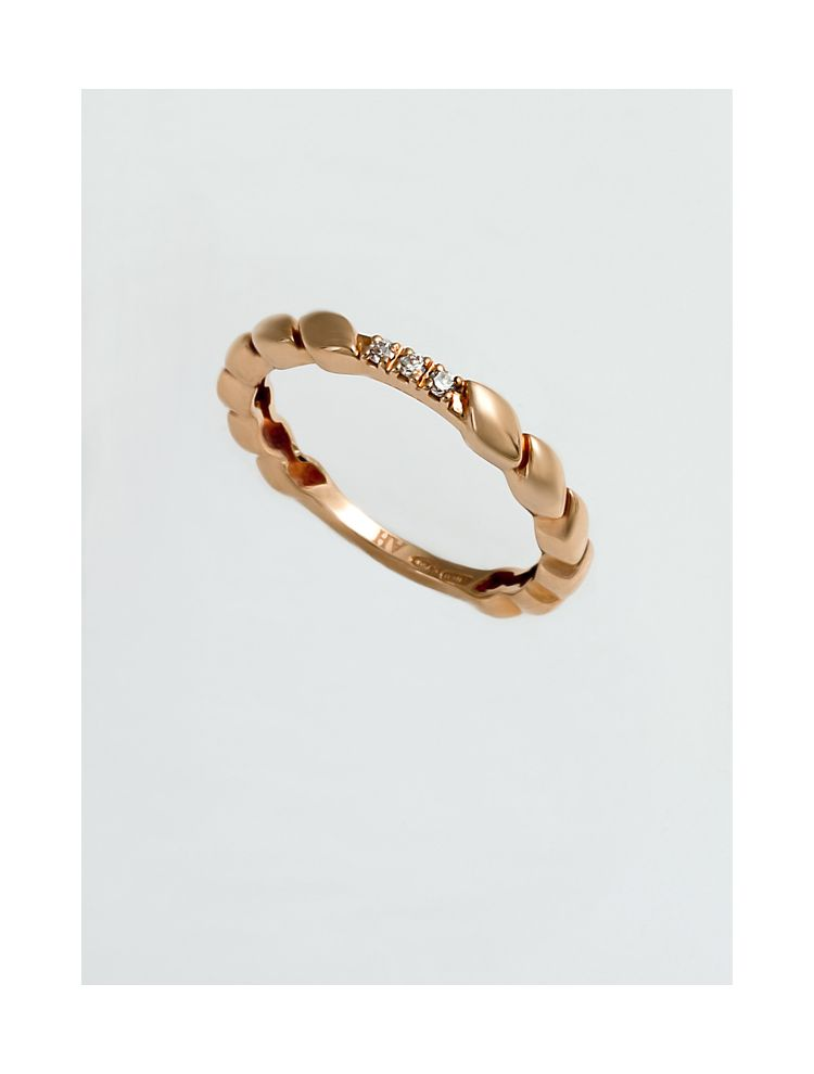 Chimento pink gold wedding band with diamonds