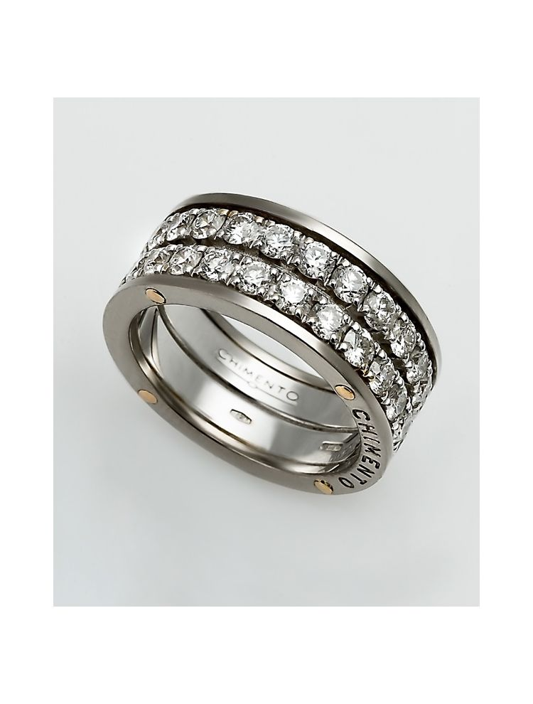 Chimento white gold wedding band with white diamonds