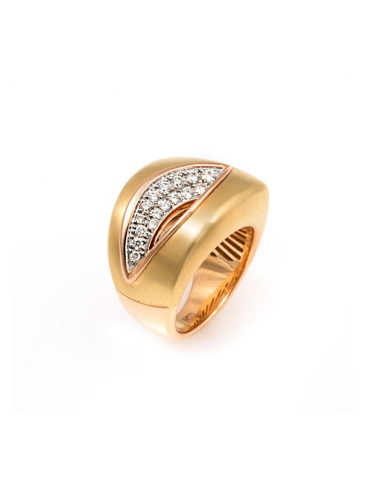 Chimento white and yellow gold ring with diamonds
