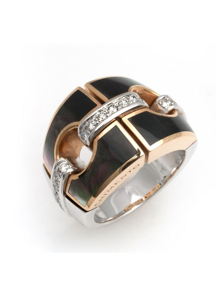 Chimento white and pink gold ring with mother of pearl and diamonds