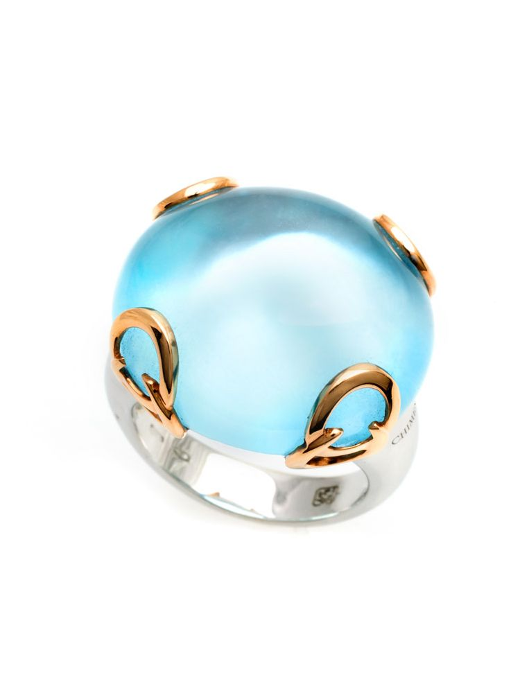 Chimento white and pink gold ring with blue topaz