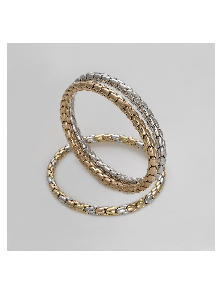 Chimento white, pink and yellow gold bangle