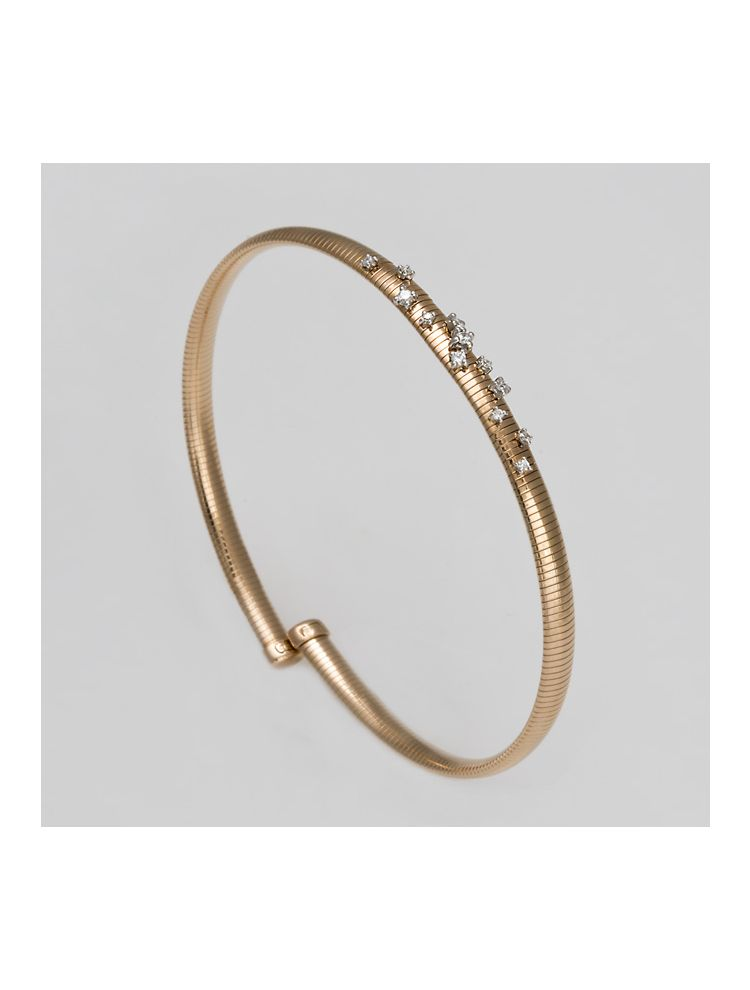 Chimento pink gold bangle with diamonds