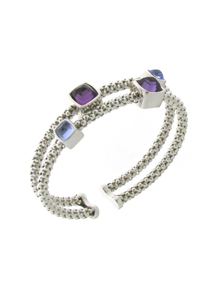 Chimento 18K Bracelet in white gold with topaz and amethyst