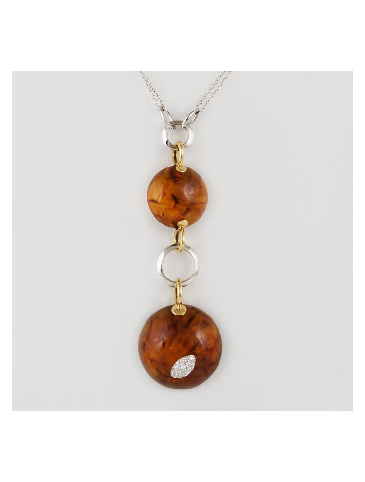 Talento Italiano white and yellow gold chain and pendant with amber and diamonds