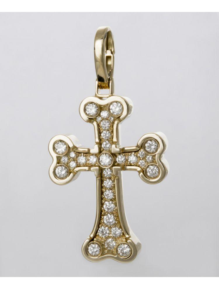 Chimento yellow gold cross pendant with white diamonds
