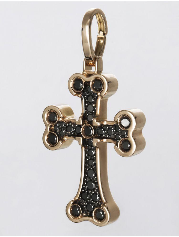Chimento pink gold cross pendant with black diamonds