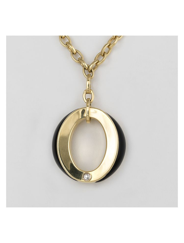 Chimento yellow gold pendant with onyx and diamonds