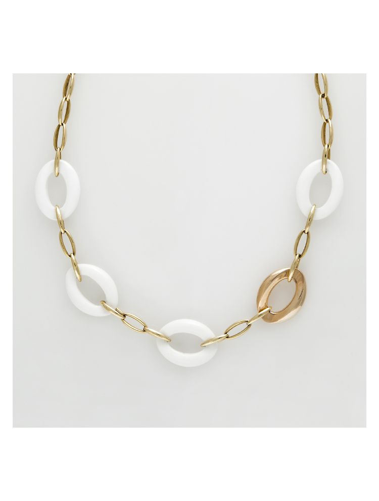 Chimento yellow gold necklace with agate and diamonds