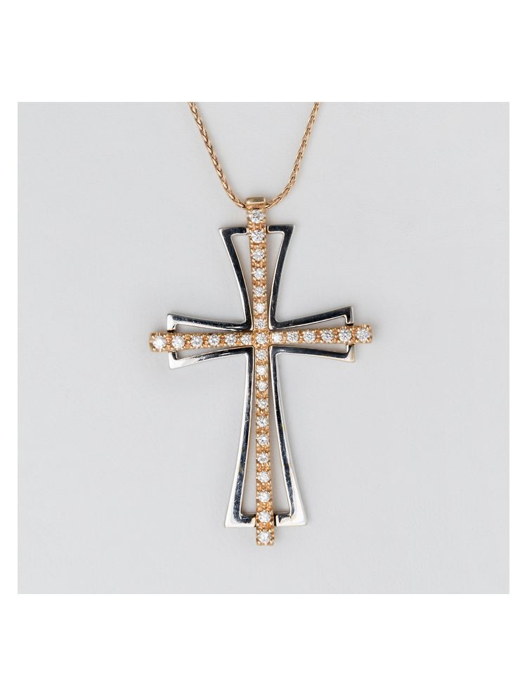 Chimento white and yellow gold cross pendant with diamonds and gold chain