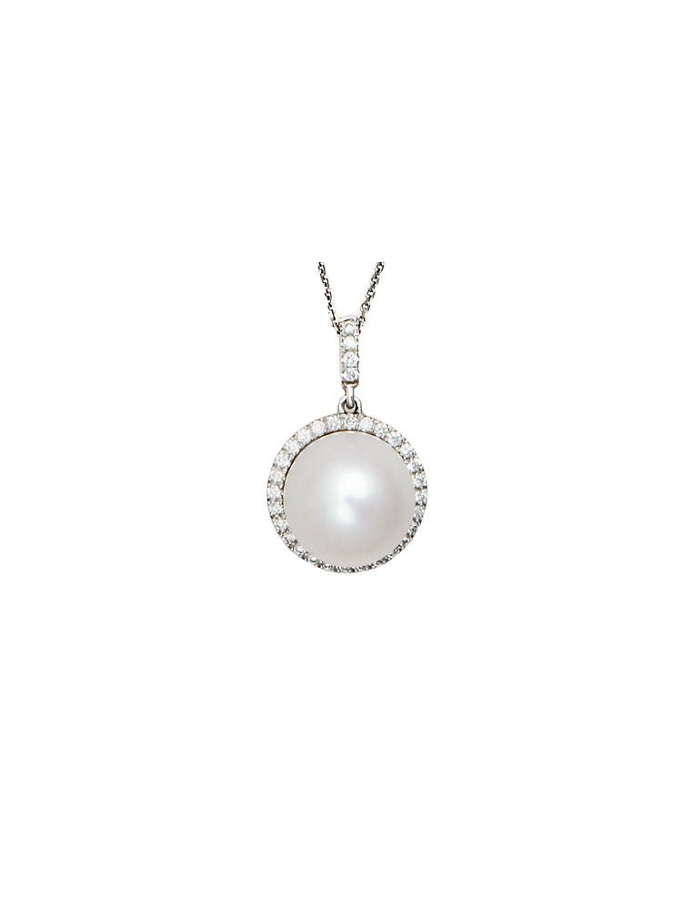 Chimento white gold chain and pendant with pearl and diamonds