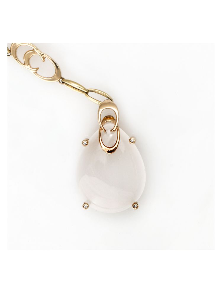 Chimento yellow gold necklace with moonstone and diamonds
