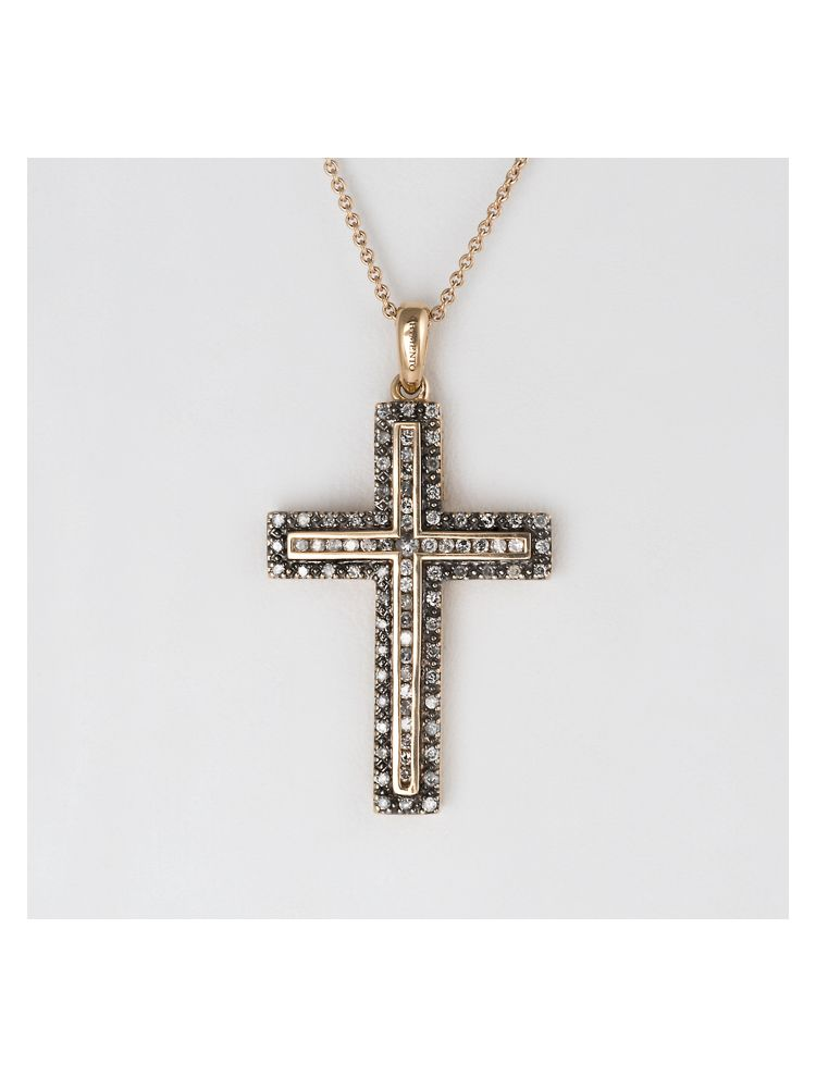 Chimento pink gold cross pendant with grey diamonds and chain