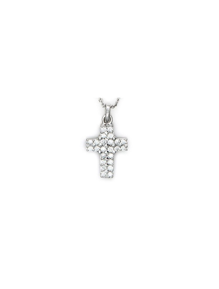 Chimento white gold cross pendant with diamonds and chain