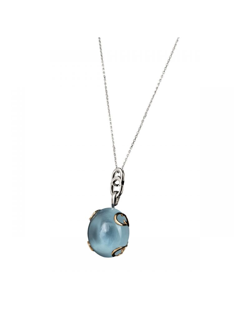 Chimento white and pink gold pendant with blue topaz