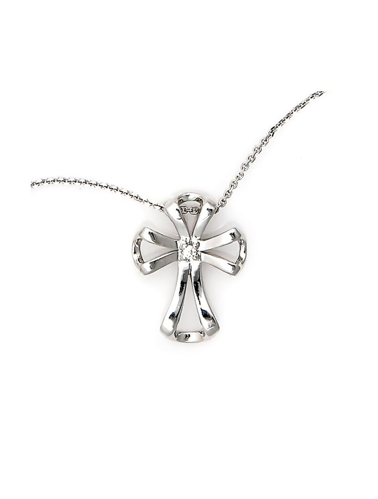 Chimento white gold cross pendant with diamond and chain
