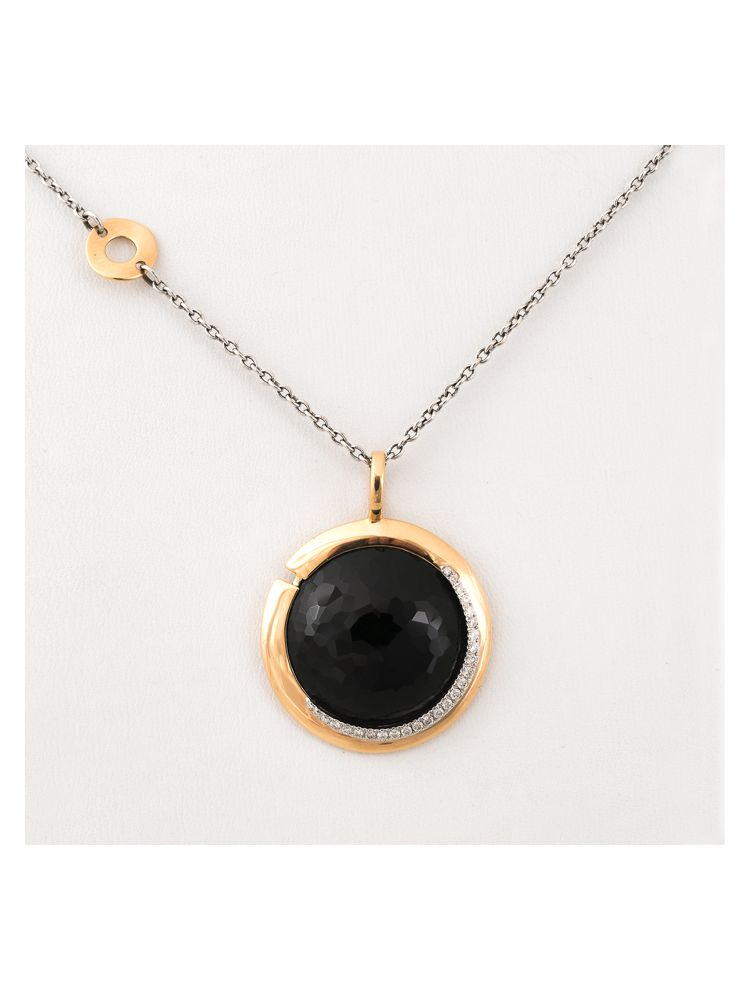 Talento Italiano white and yellow gold chain and pendant with black onyx and diamonds