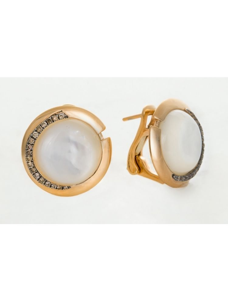Talento Italiano pink gold earrings with mother of pearl and brown diamonds