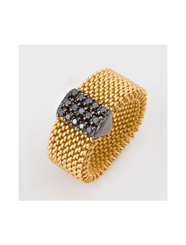 "J.Project yellow gold ring with elastic steel ""cloth"" and black diamonds"