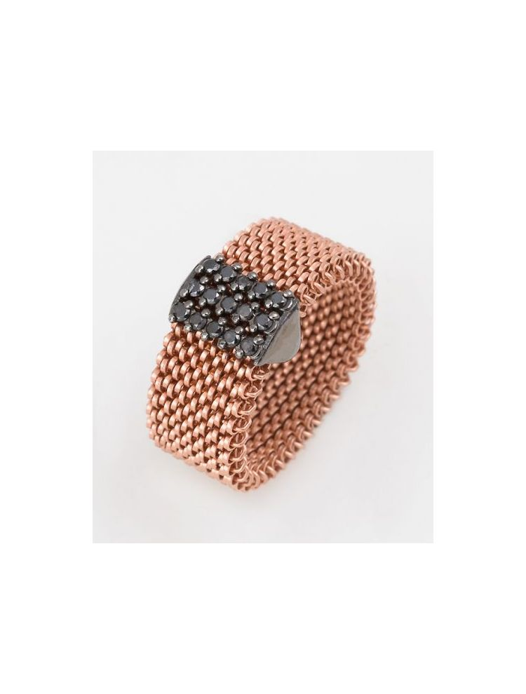 "J.Project pink gold ring with elastic steel ""cloth"" and black diamonds ct 0.30"