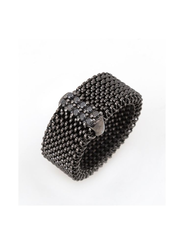 "J.Project black gold ring with elastic steel ""cloth"" and diamonds"
