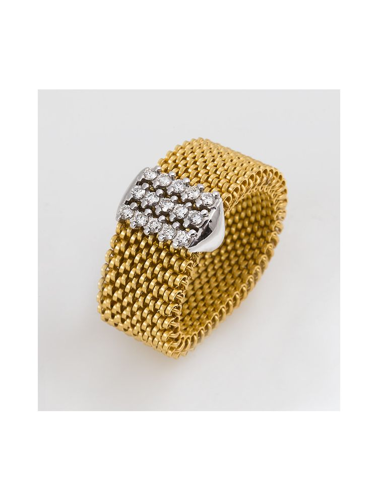 """J.Project white gold ring with elastic steel """"cloth"""" and diamonds"""