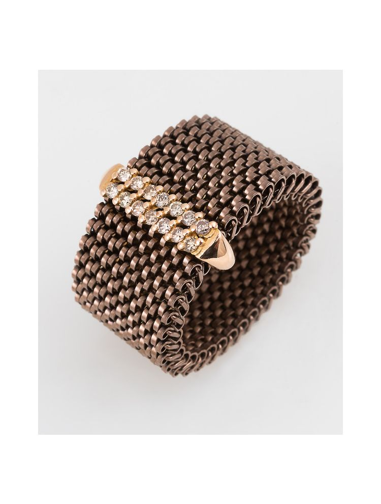 """J.Project yellow gold ring with elastic steel """"cloth"""" and diamonds"""