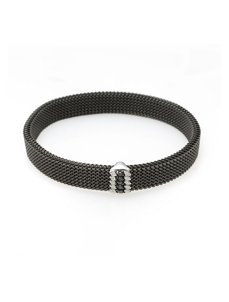 """J.Project white gold bracelet with elastic steel """"cloth"""" and diamonds"""