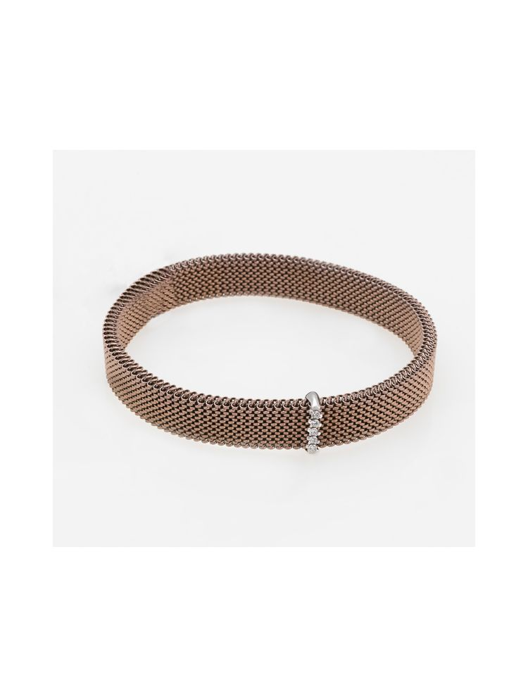 """J.Project white gold bracelet with elastic steel """"cloth"""" with diamonds"""