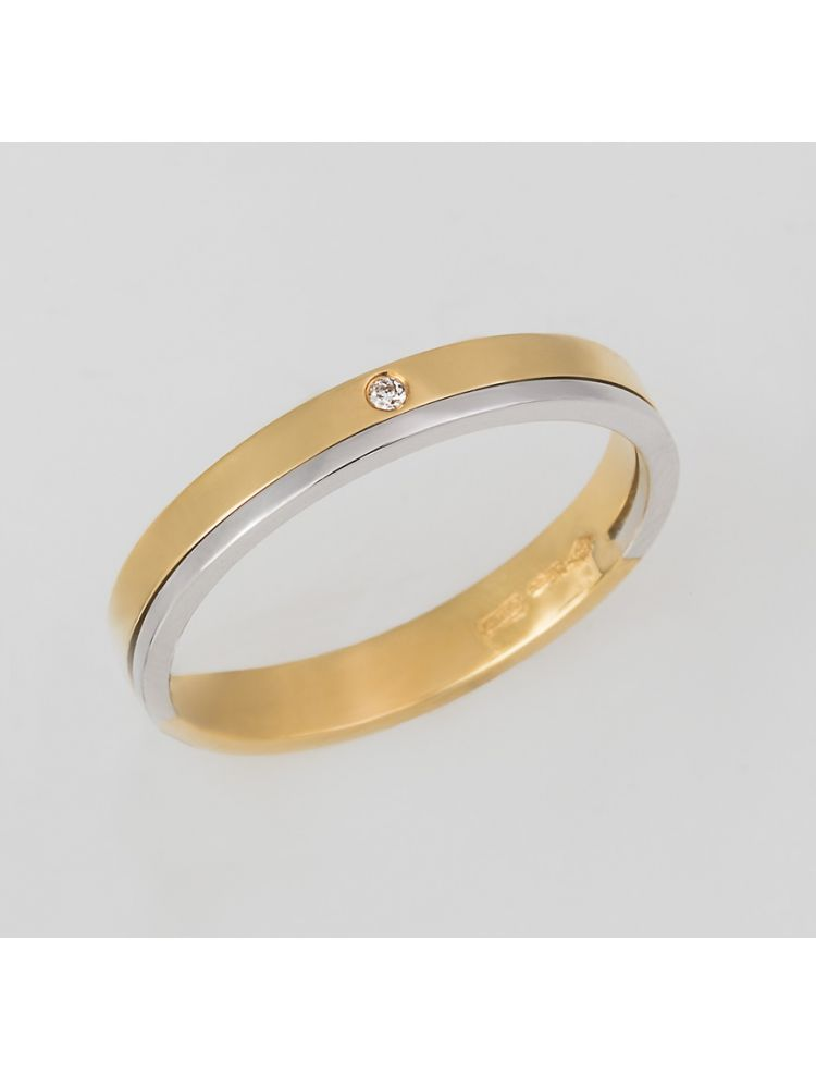 Bliss white and yellow gold wedding band with white diamond